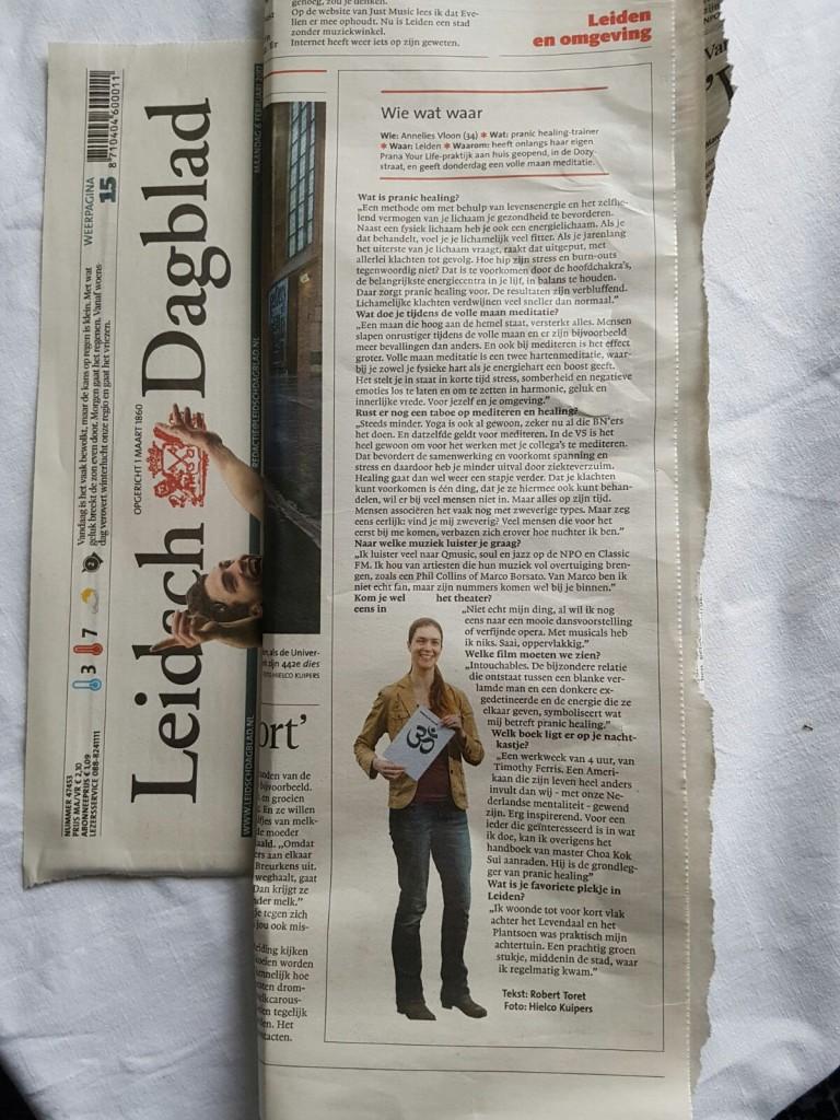Wie wat waar Prana Your Life in krant Leidsch Dagblad 6-2-2017