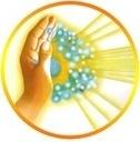 Energieke hand in cirkel